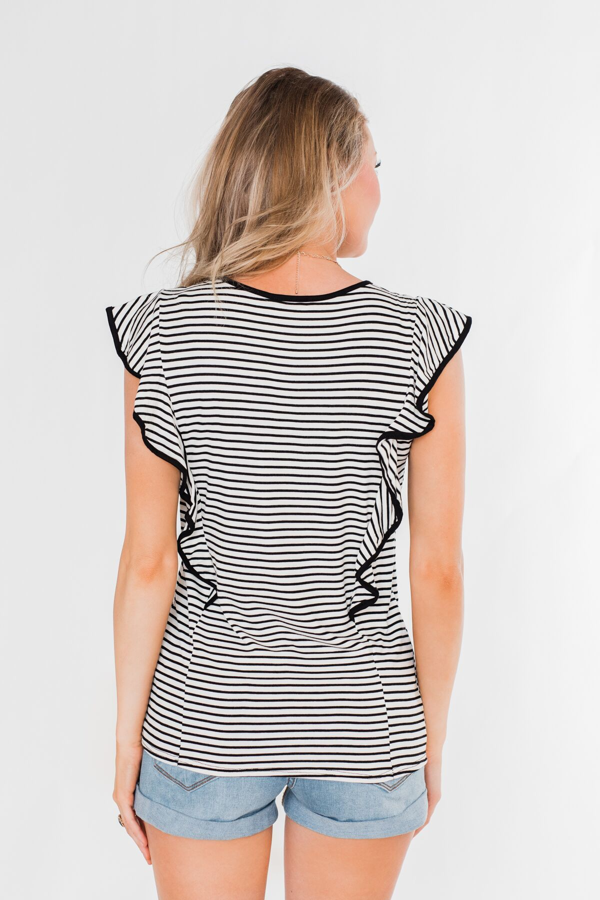 All The Good Things Striped Ruffle Top- Black & Ivory