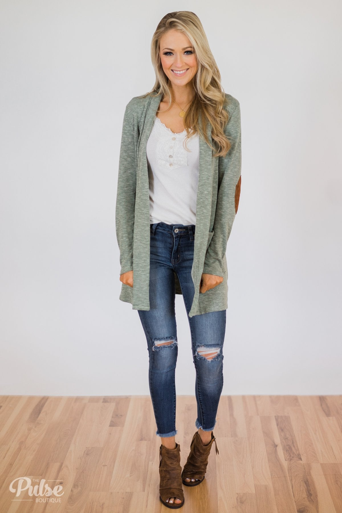 As Long As You Need Elbow Patch Cardigan- Soft Sage
