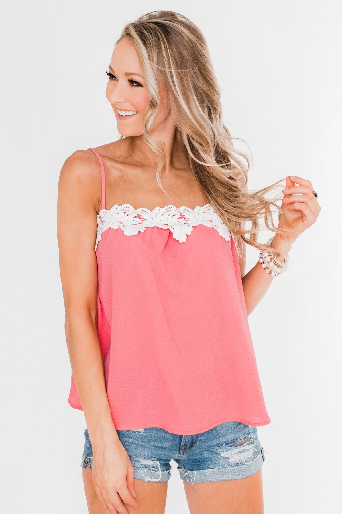 I Hold On Spaghetti Strap Tank Top- Coral
