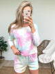 Cropped Tie Dye Long Sleeve Top- Mint, Pink, Yellow