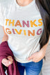 """Thanksgiving"" Colorful Print Graphic Tee- Light Taupe"