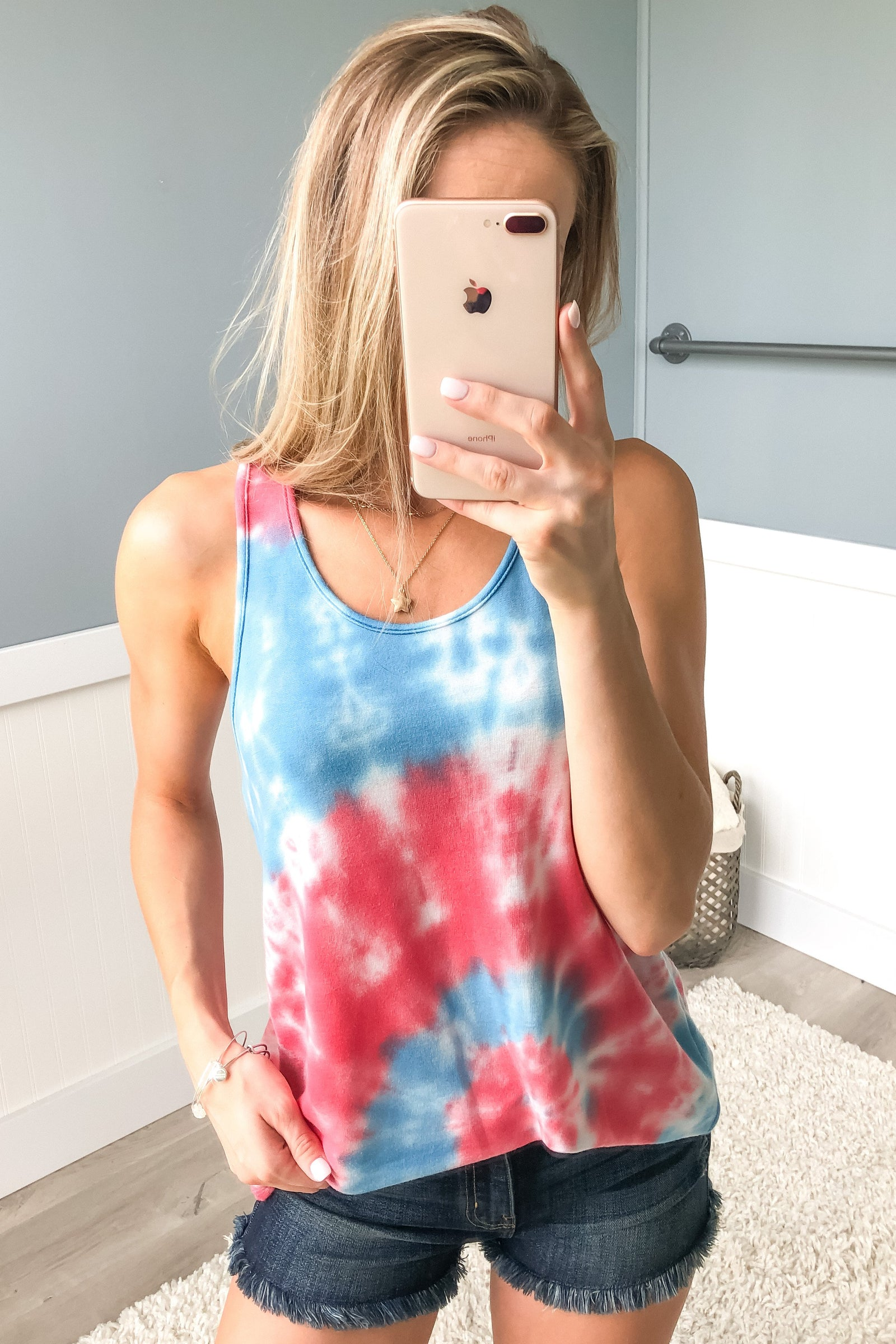 Cool For The Summer Tie Dye Tank Top- Red, Blue, White