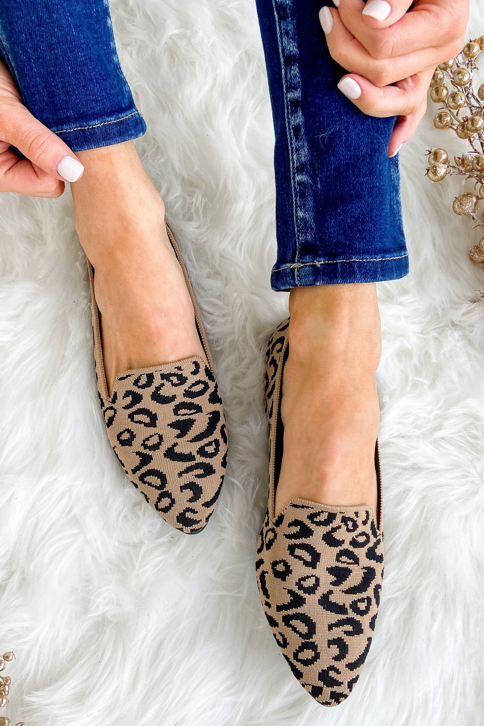 JellyPop Marrianne Flats- Leopard Knitted