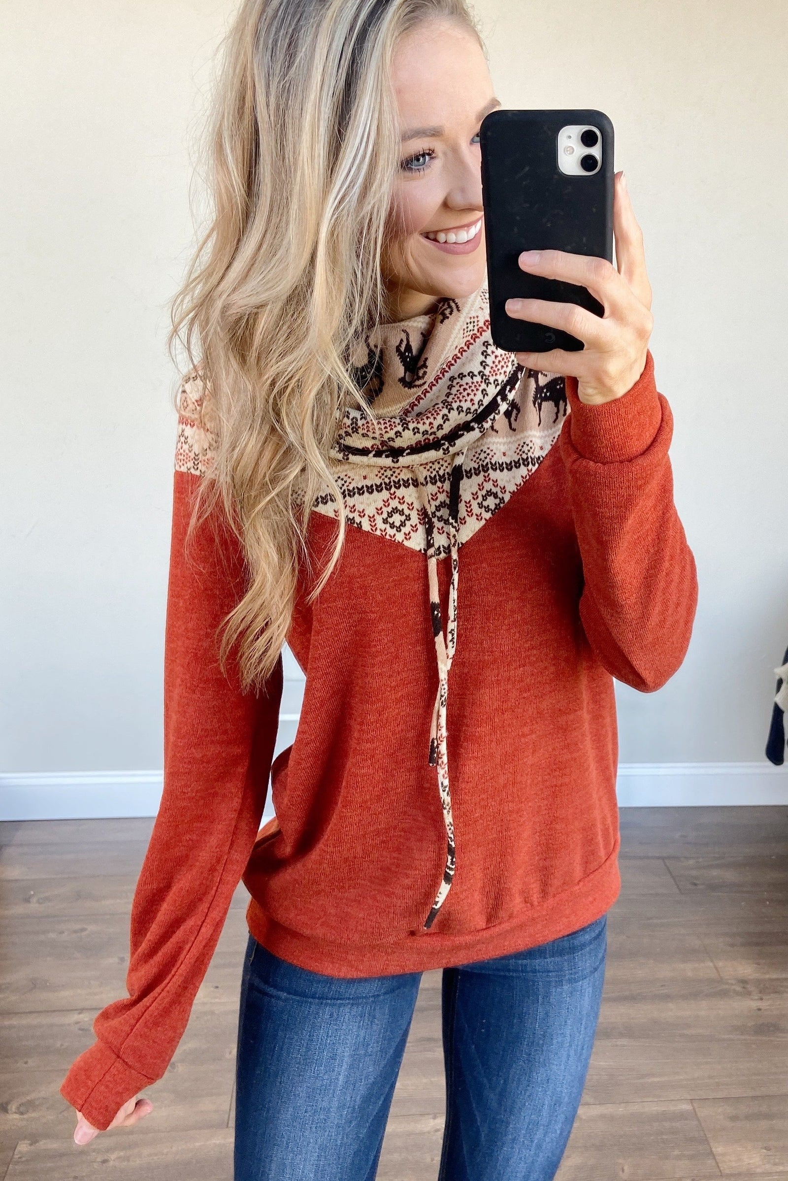 Dashing Into Winter Cowl Neck Top- Rust