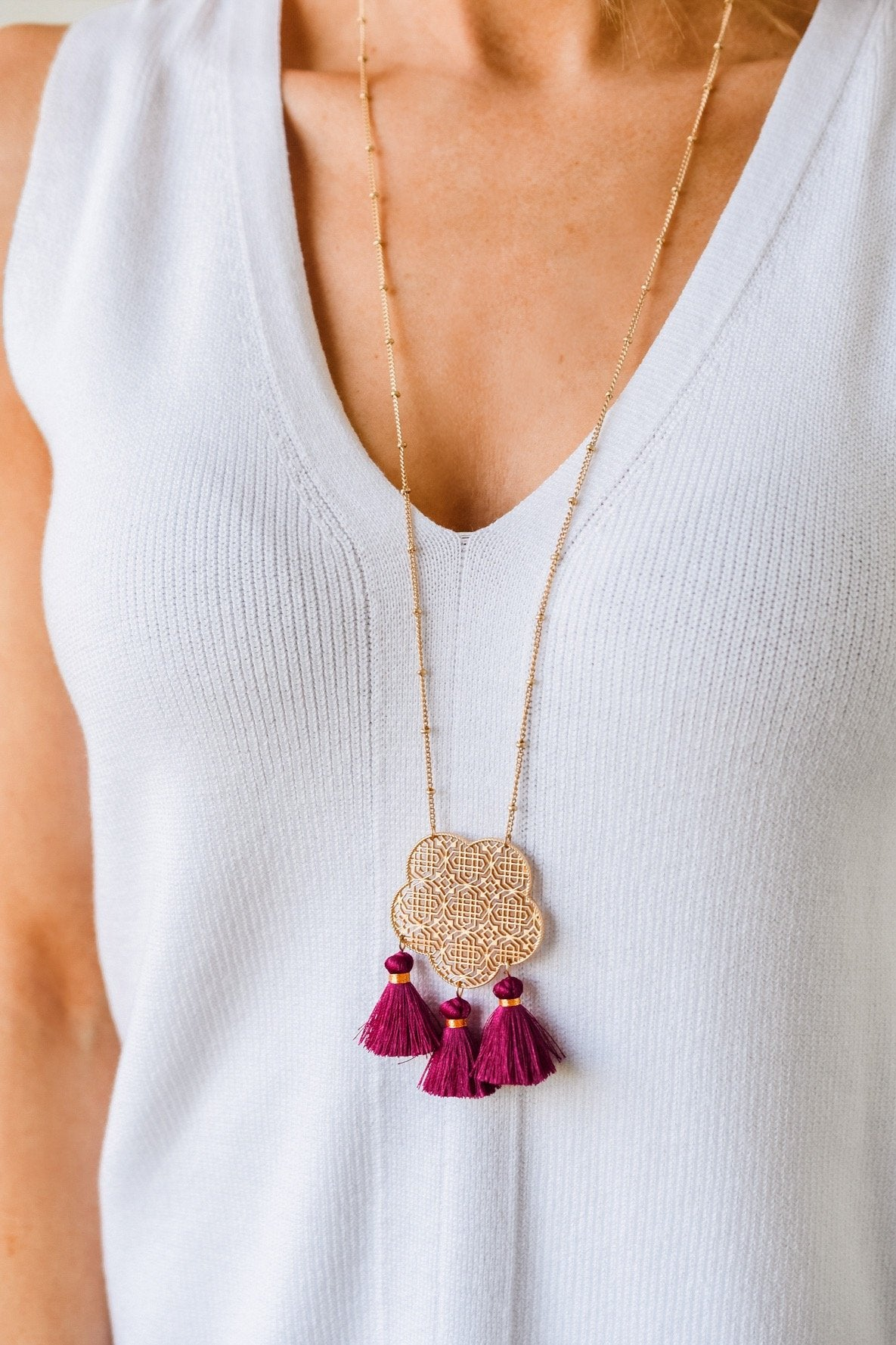 Charmingly Cheerful Pendant Necklace- Magenta