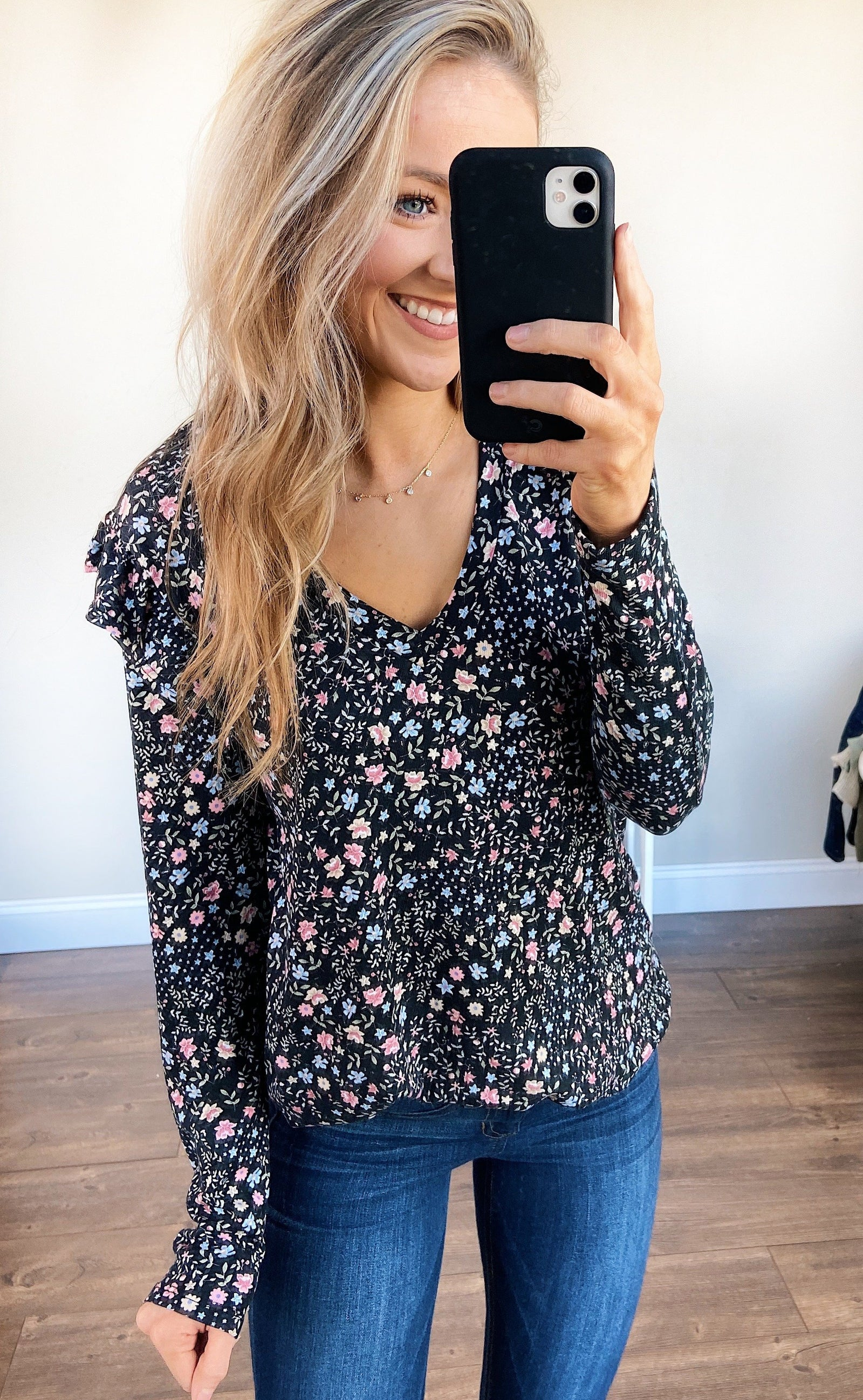 Forever And Ever Floral Top- Black
