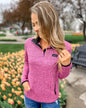 Pulse Exclusive Quarter Button Pullover- Pink