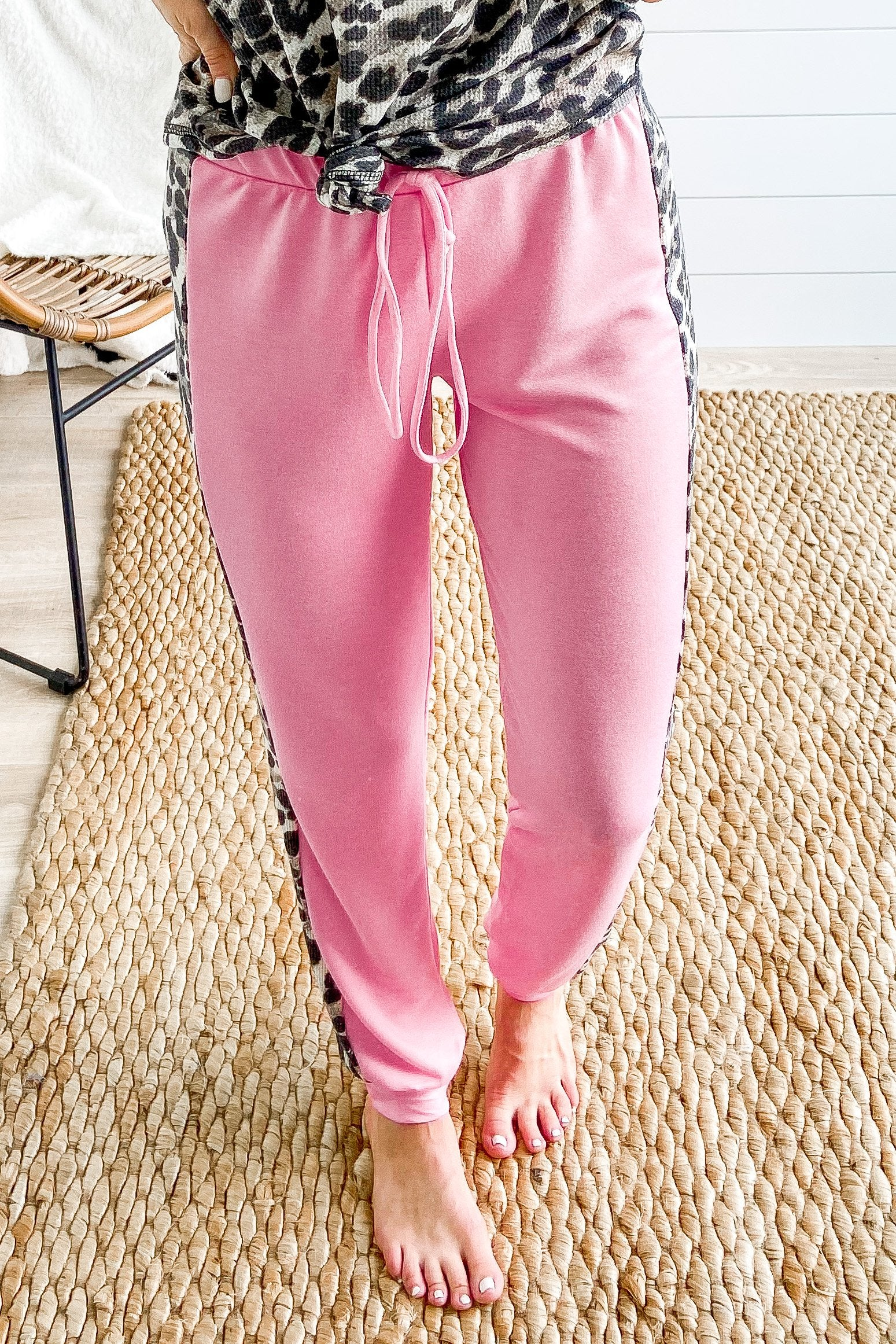 Leopard Knit Side Detail Joggers- Pink