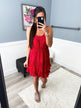See Me Smile Speckled Ruffle Dress- Red