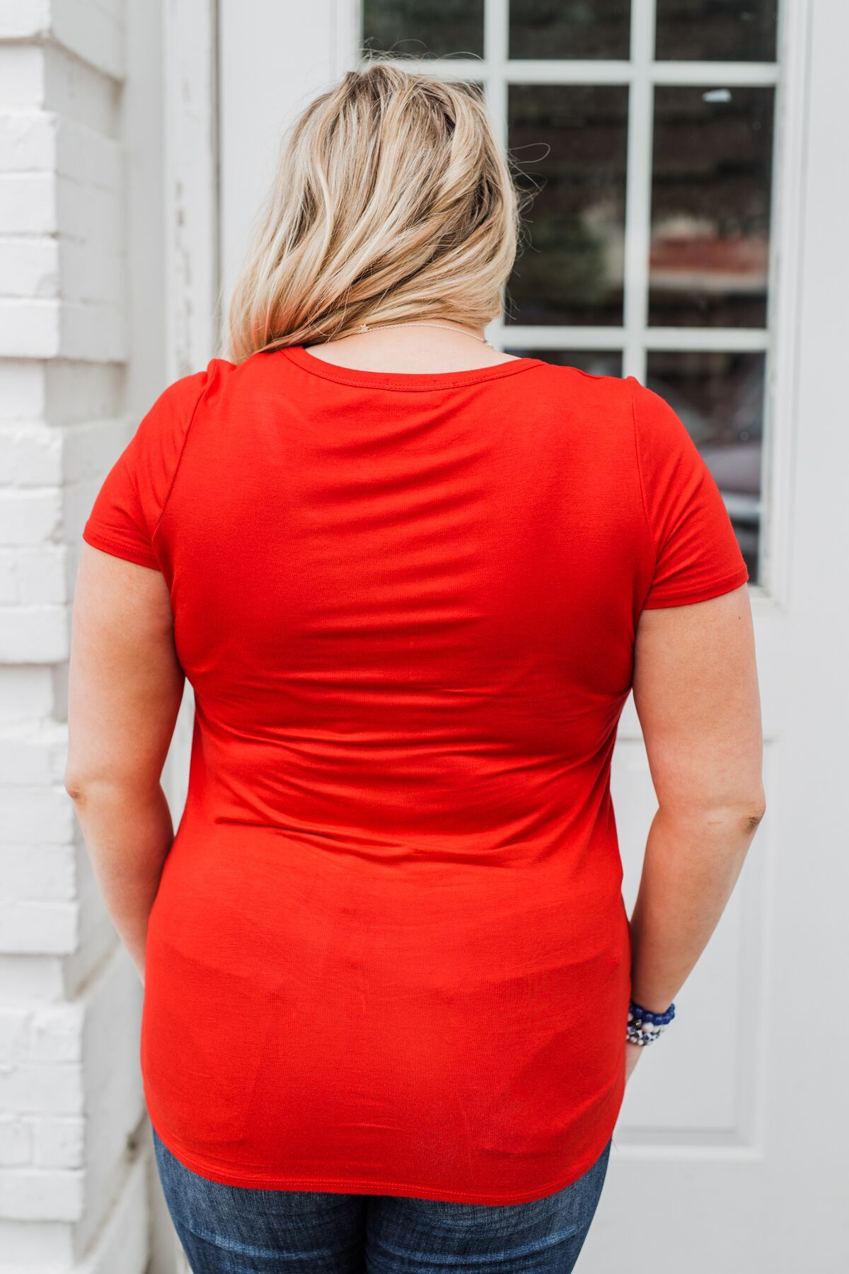 Meet Me Here Short Sleeve Top- Scarlet Red