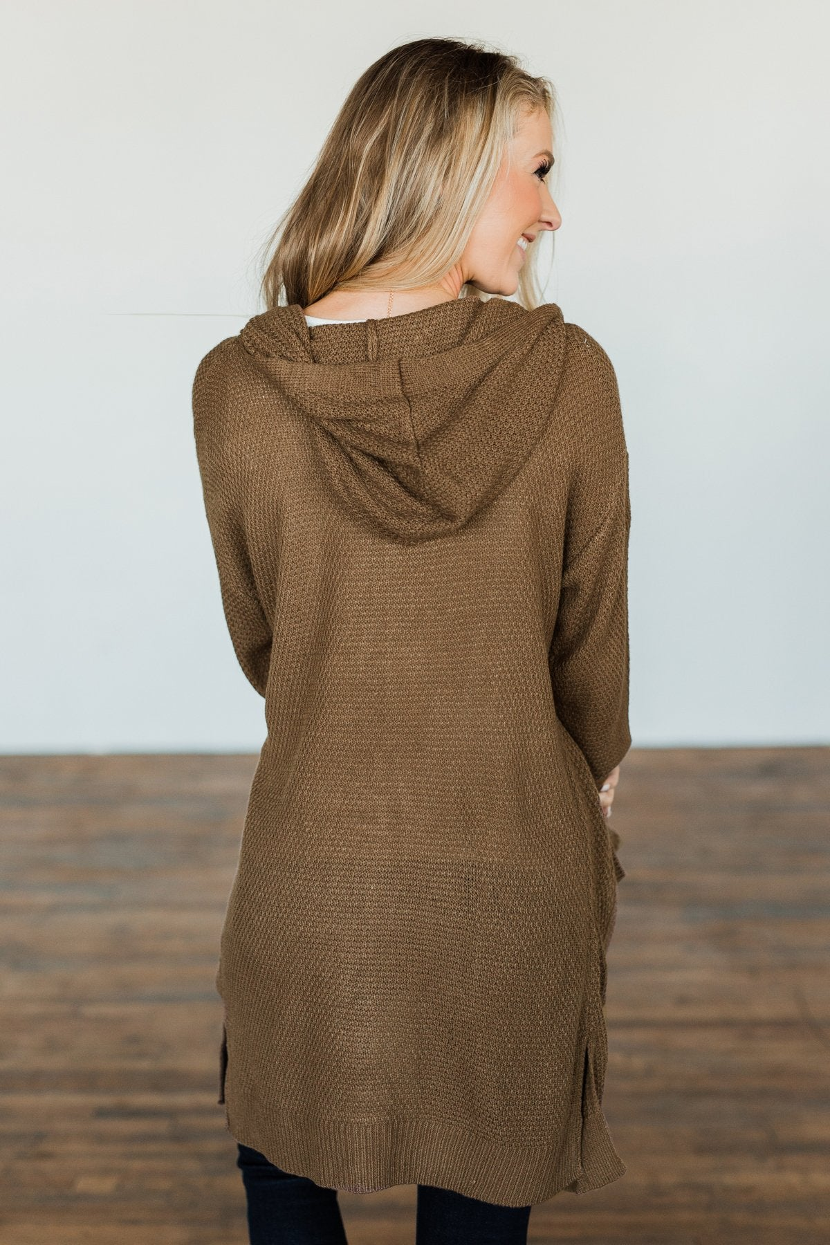 A Wish Come True Hooded Cardigan- Chocolate