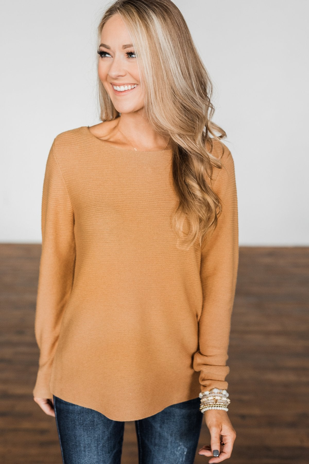Up In The Clouds Knit Sweater- Light Camel