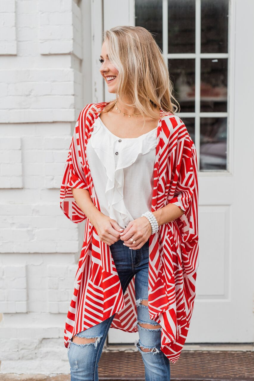 Radiant in Red Short Sleeve Kimono- Ivory
