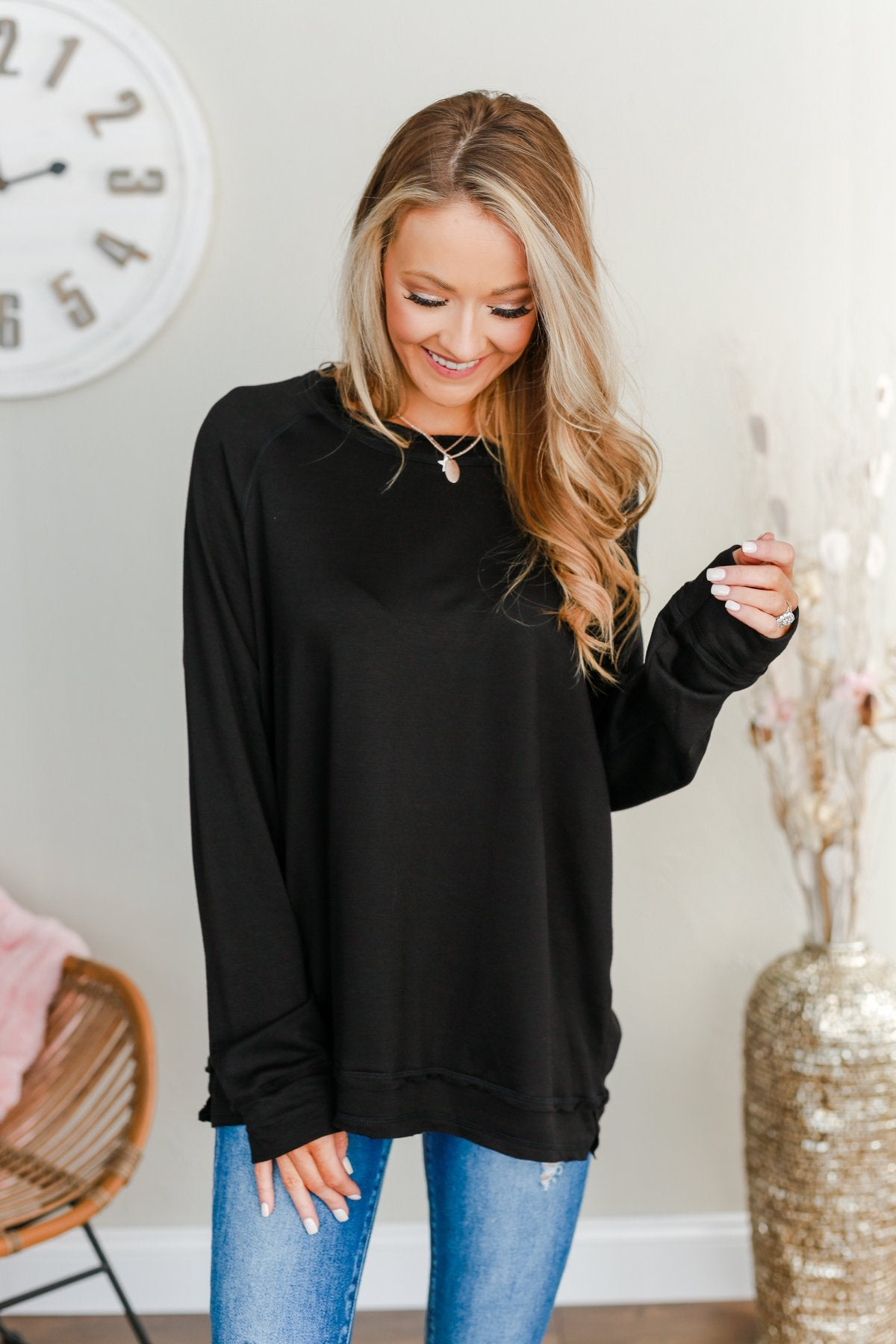 Wake Up The Day Long Sleeve Top- Black