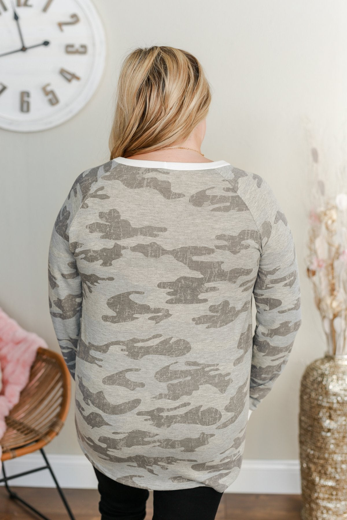 Clear As Day Long Sleeve Camo Top- Charcoal & Grey