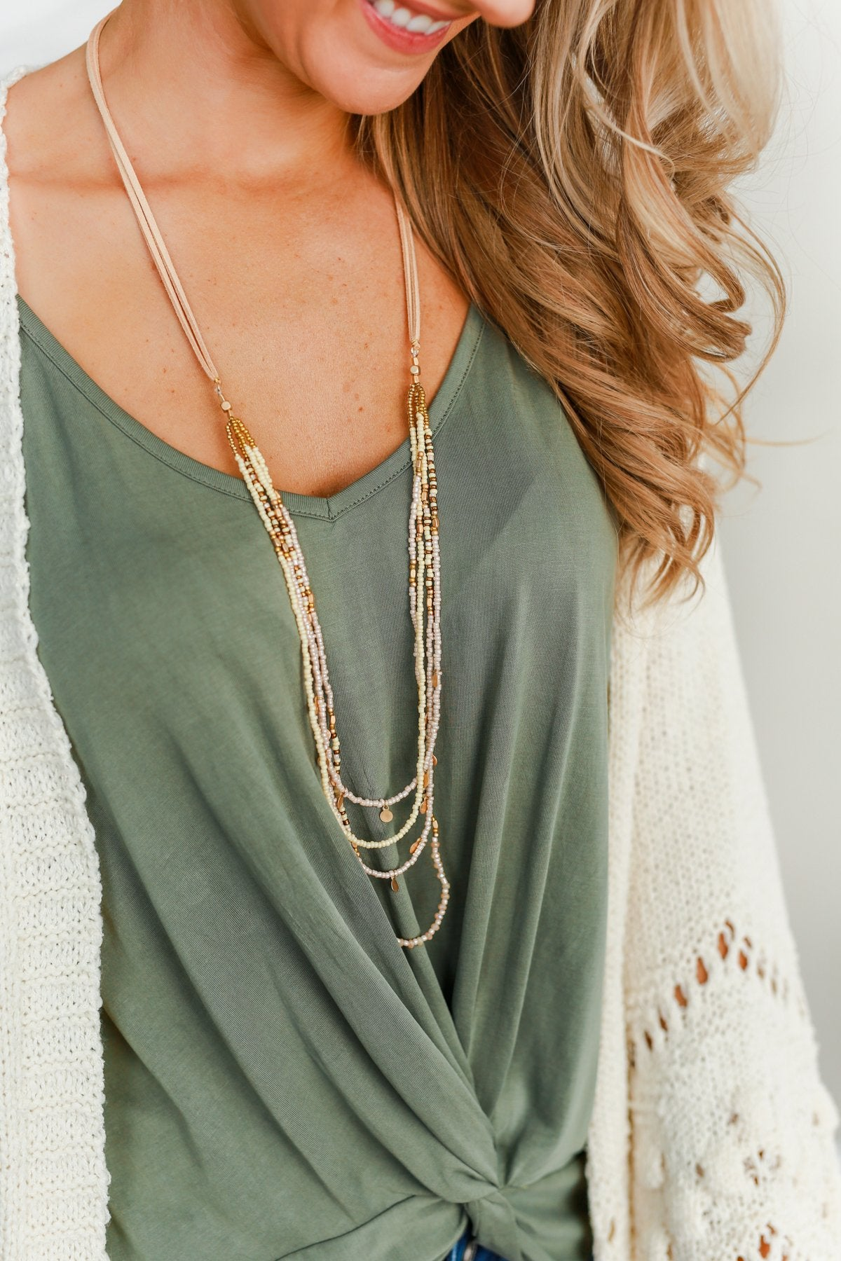 Long Beaded Suede Necklace- Natural & Ivory
