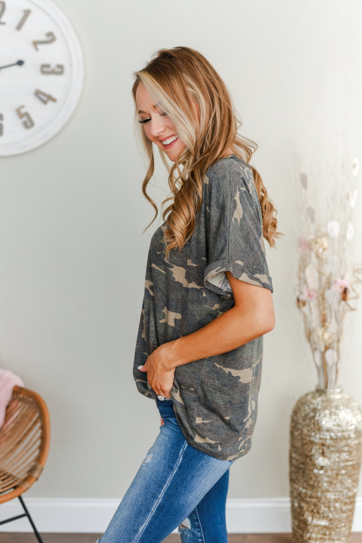 Sweetheart Wishes V-Neck Top- Camo