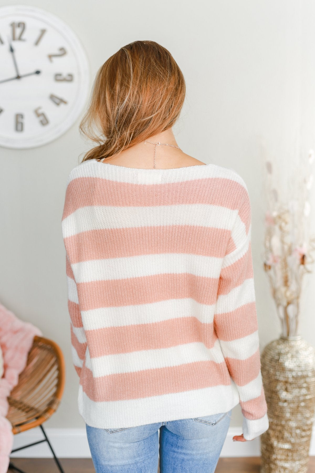 Perfectly Me Knit Sweater- Pink & Off-White