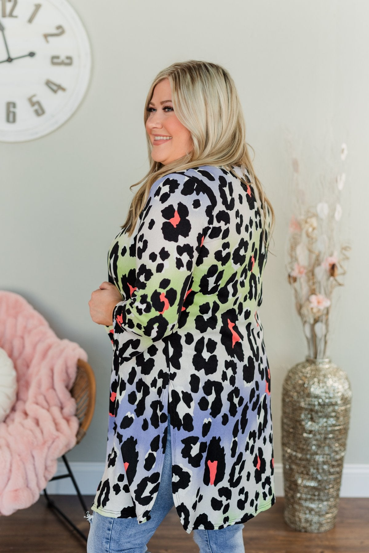 Lovely Life Of Mine Leopard Cardigan- Indigo, Lime, Coral & Ivory