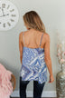 Beautiful Destinations Tiered Tank Top- Blue & Off White