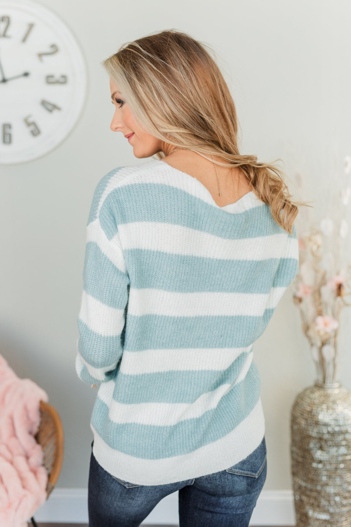 Perfectly Me Knit Sweater- Blue & Off-White