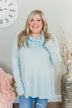 Shine Your Smile Cowl Neck Top- Light Blue