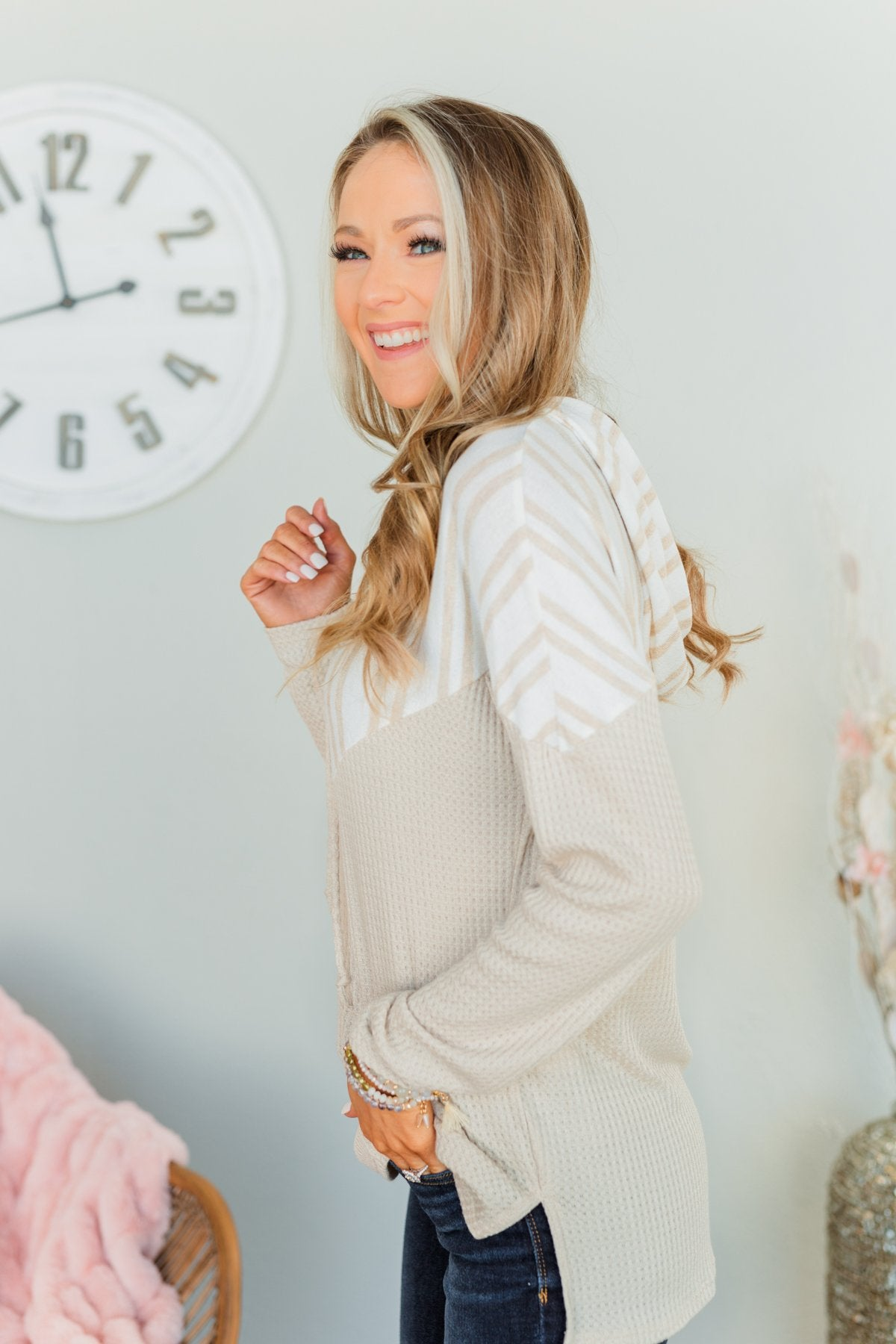 Simple Wishes Drawstring Hoodie- Oatmeal & Ivory