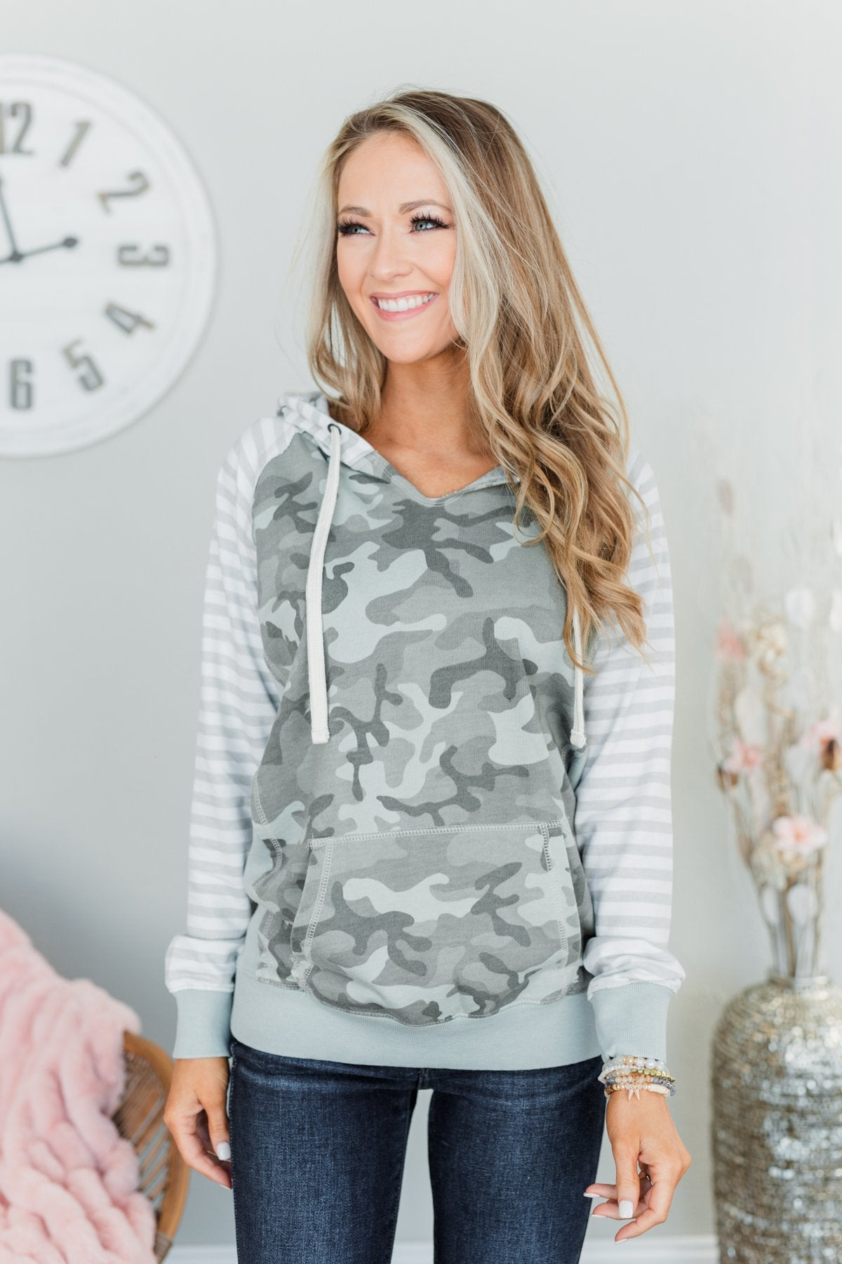 Always Authentic Drawstring Hoodie- Dusty Sage, Ivory, & Taupe