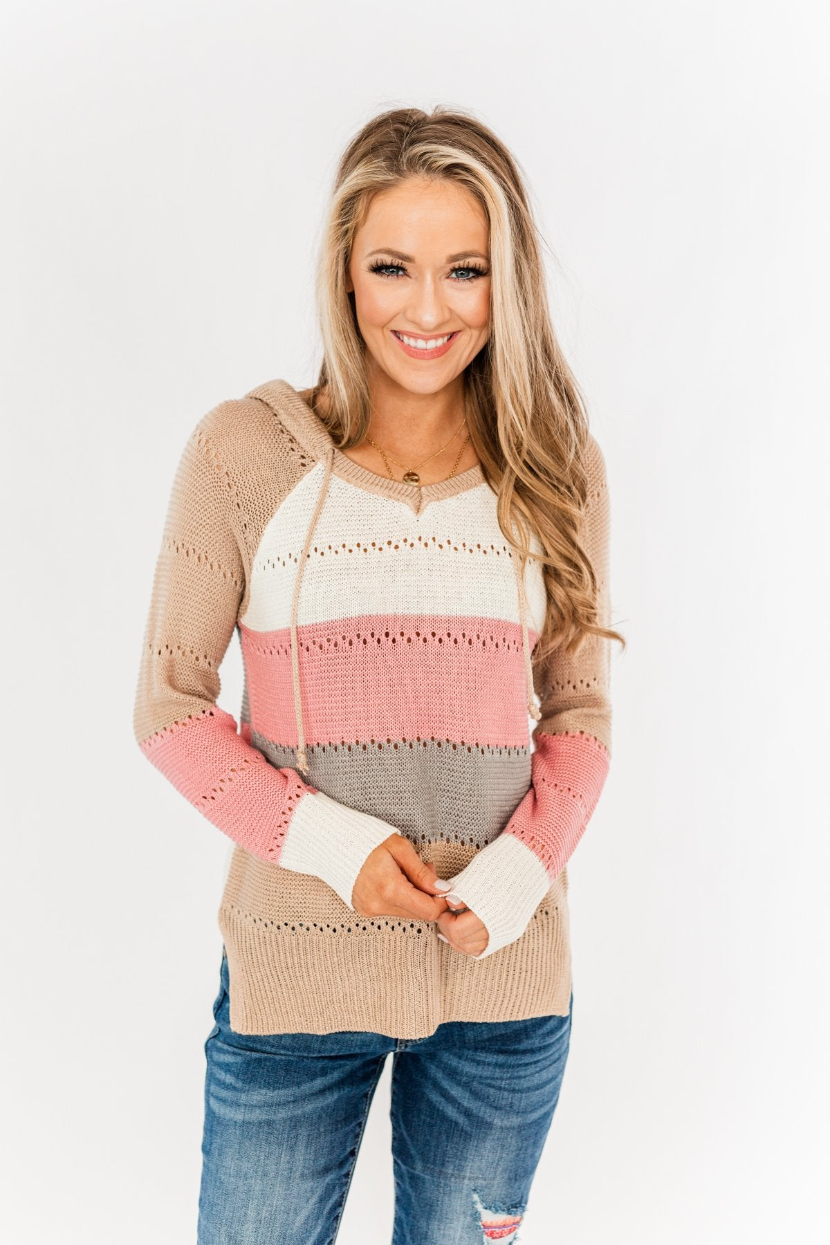 A Day With You Knit Hoodie- Tan, Pink, Off-White & Grey