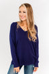 The Best Part V-Neck Sweater- Navy