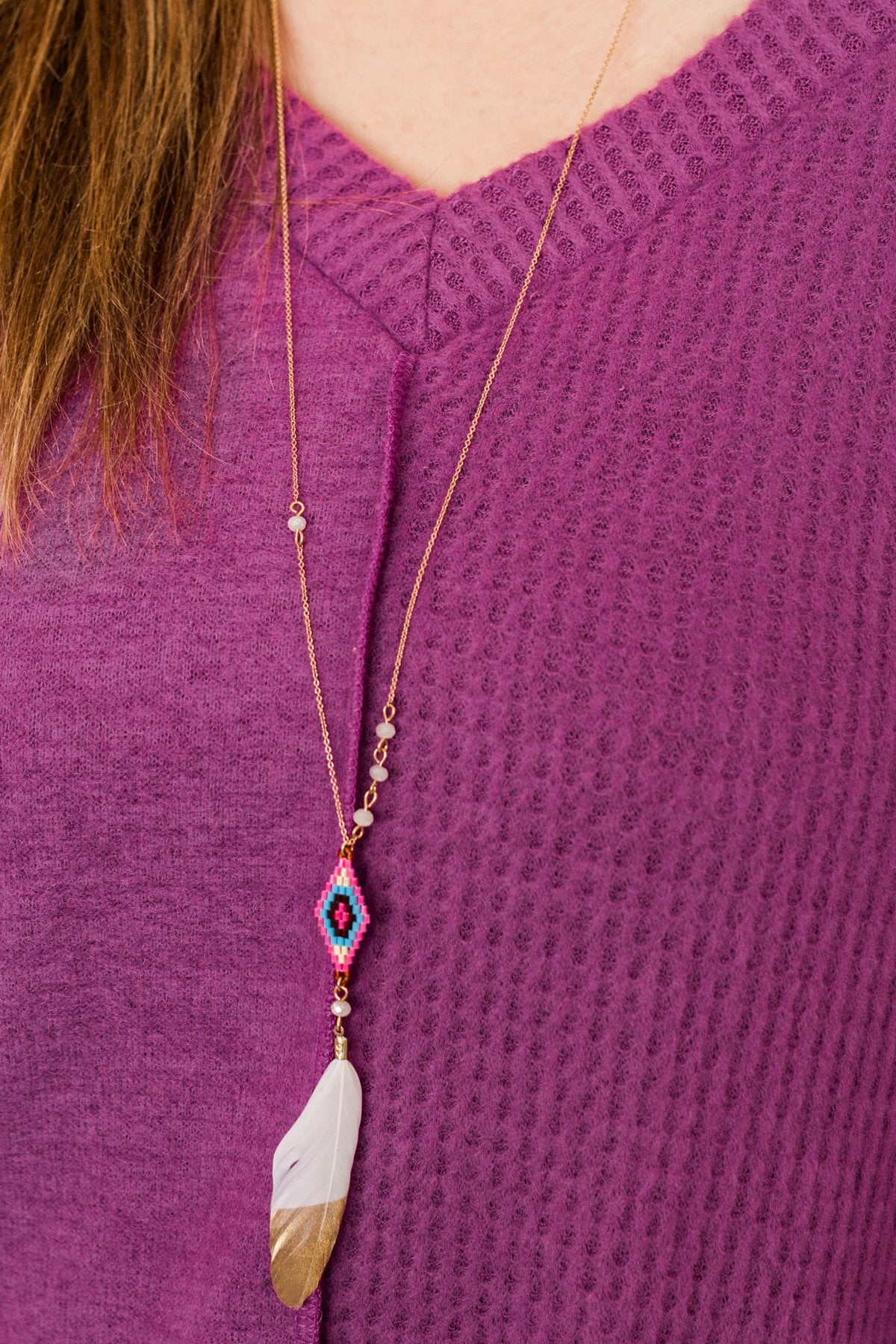 Beautifully Me Feather Pendant Necklace- Pink & Ivory
