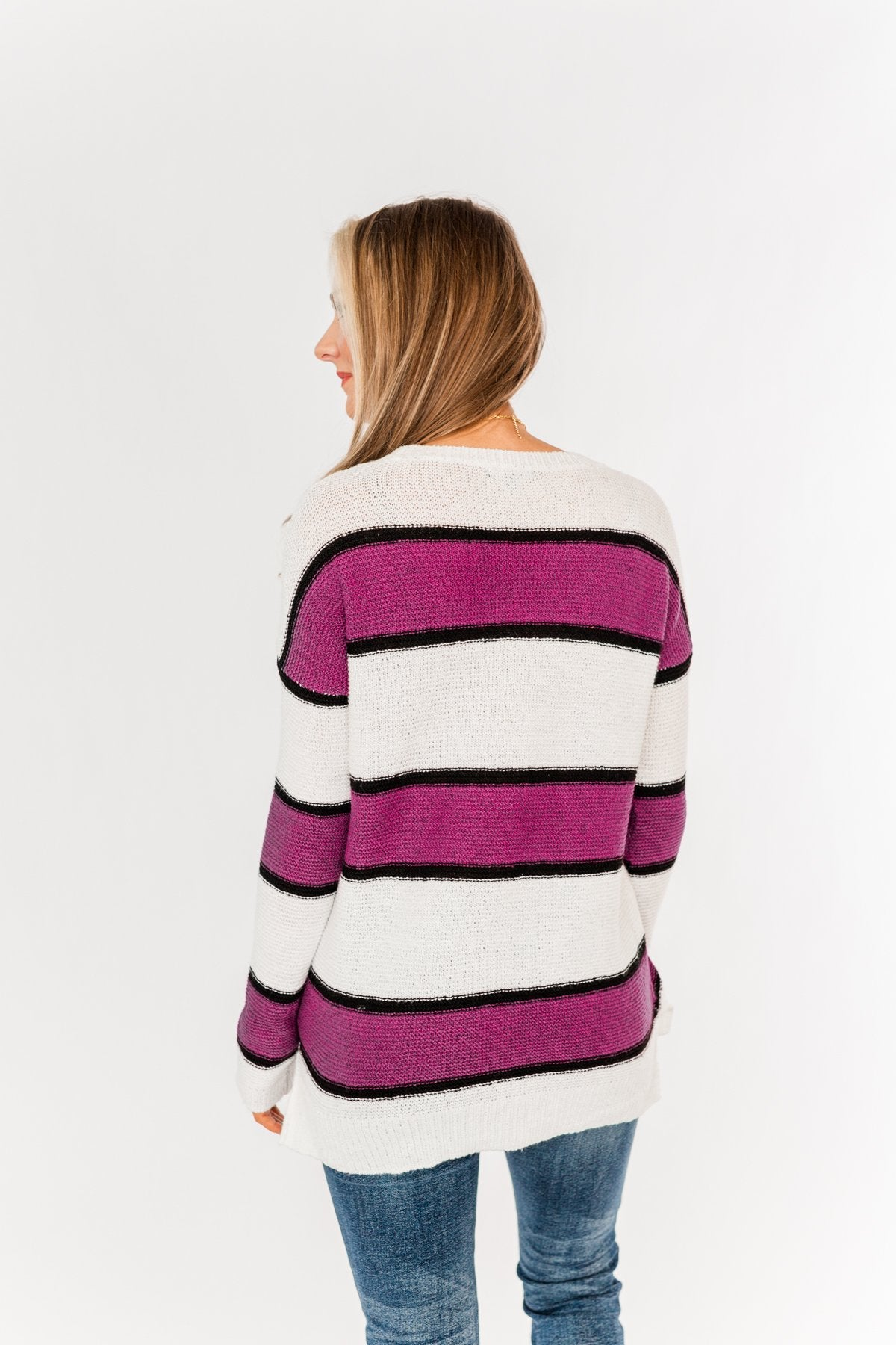 Oh So Soft Striped Knit Sweater- Magenta