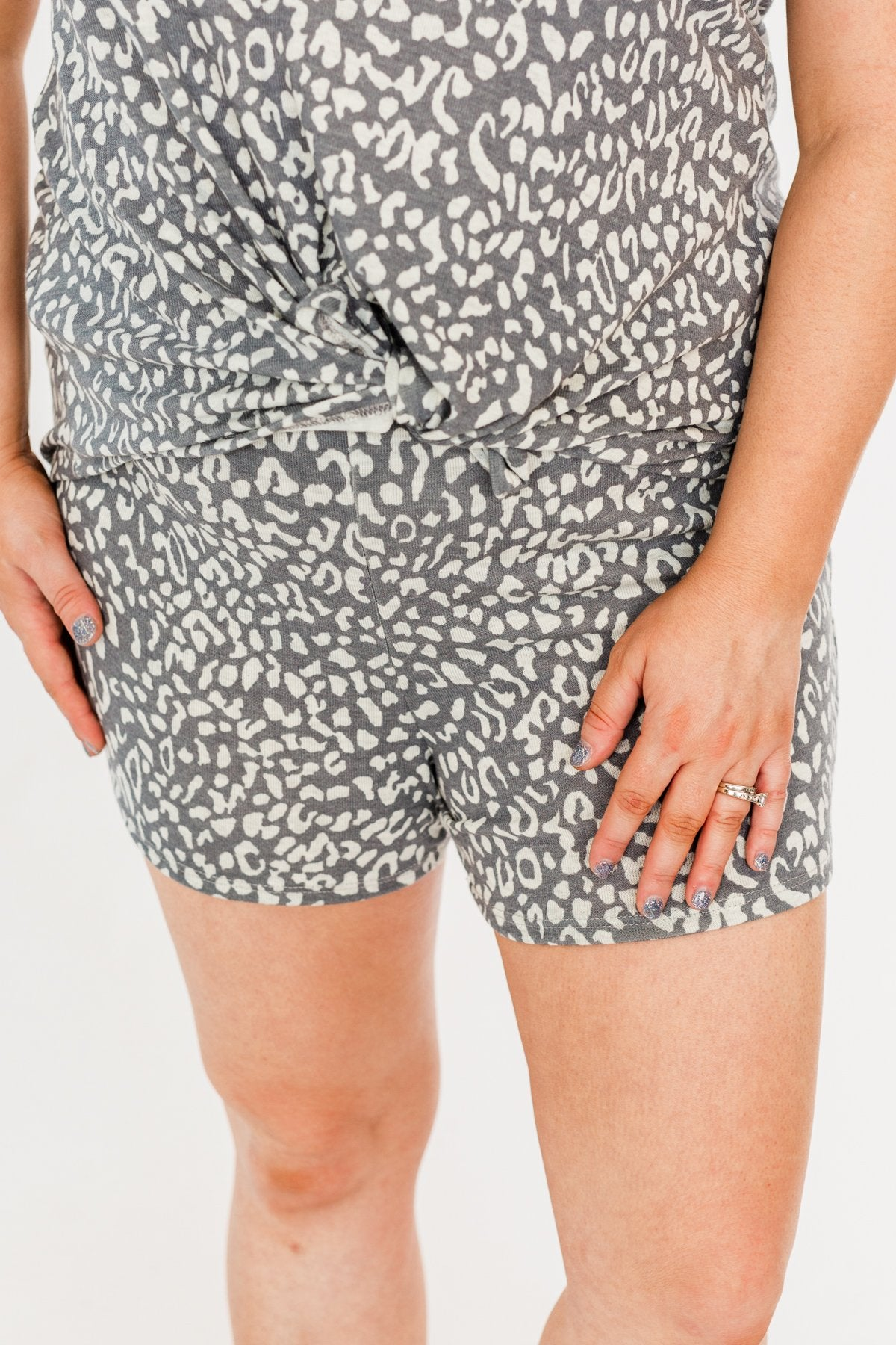Born Wild Leopard Lounge Shorts- Charcoal & Ivory