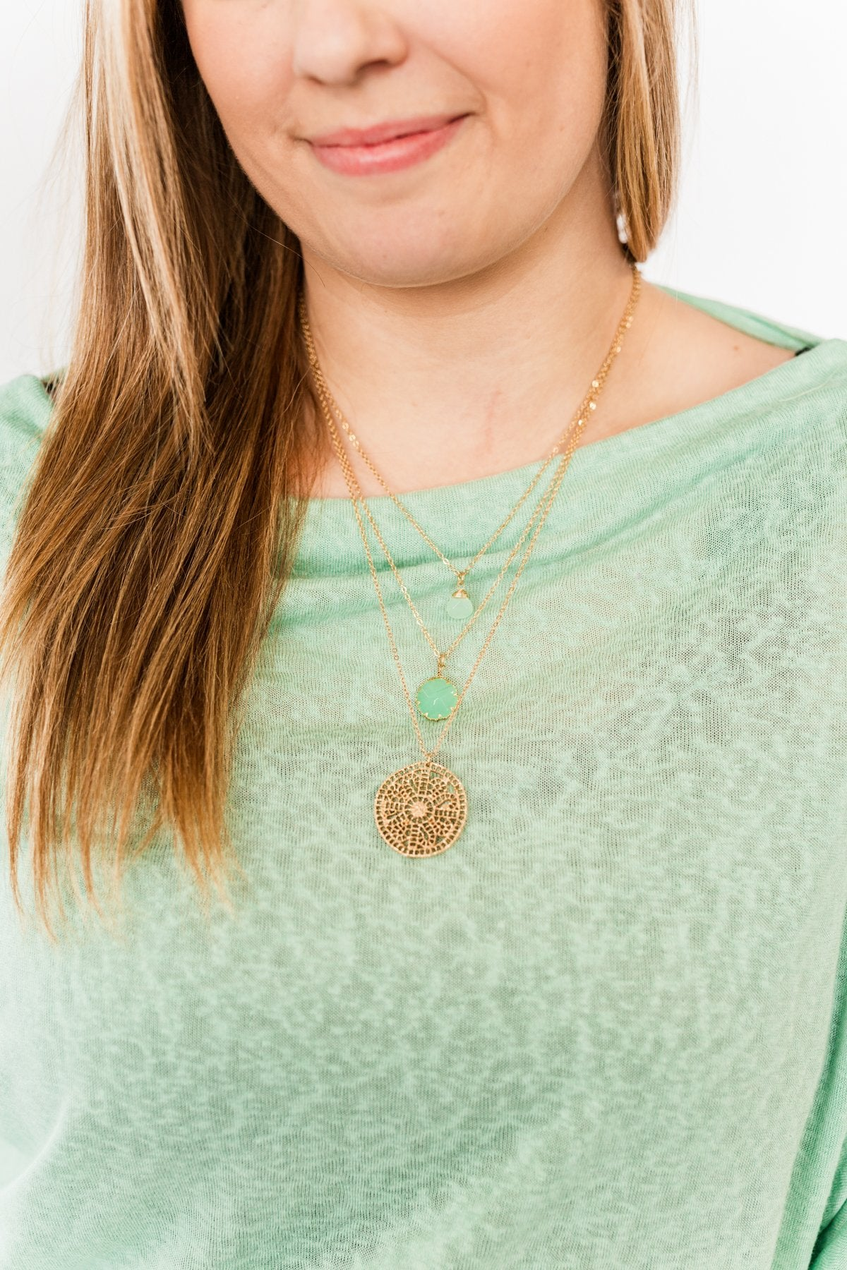 A Touch Of Grace 3-Tier Necklace- Gold & Seafoam Green
