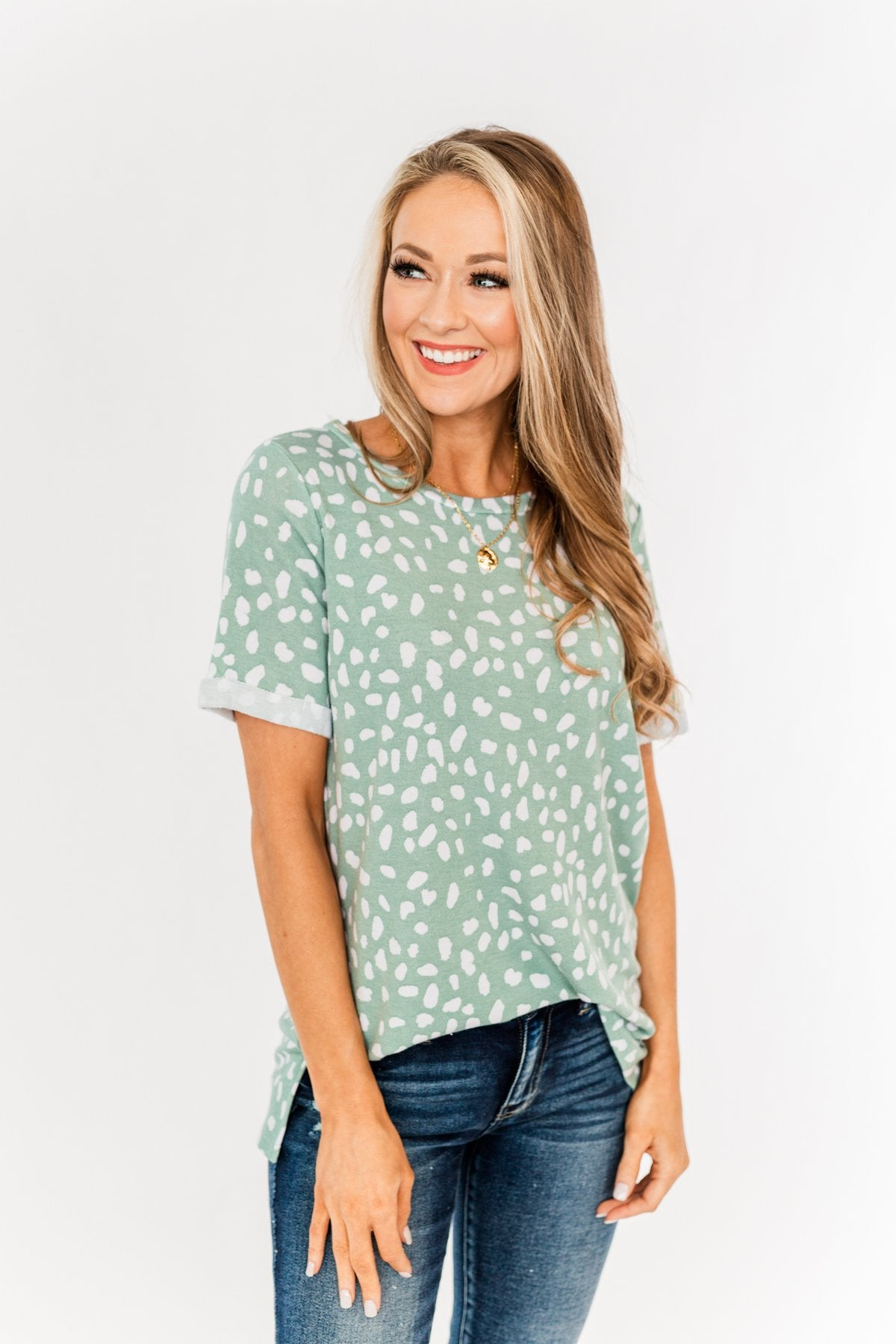 Choose To Be Happy Spotted Top- Sage