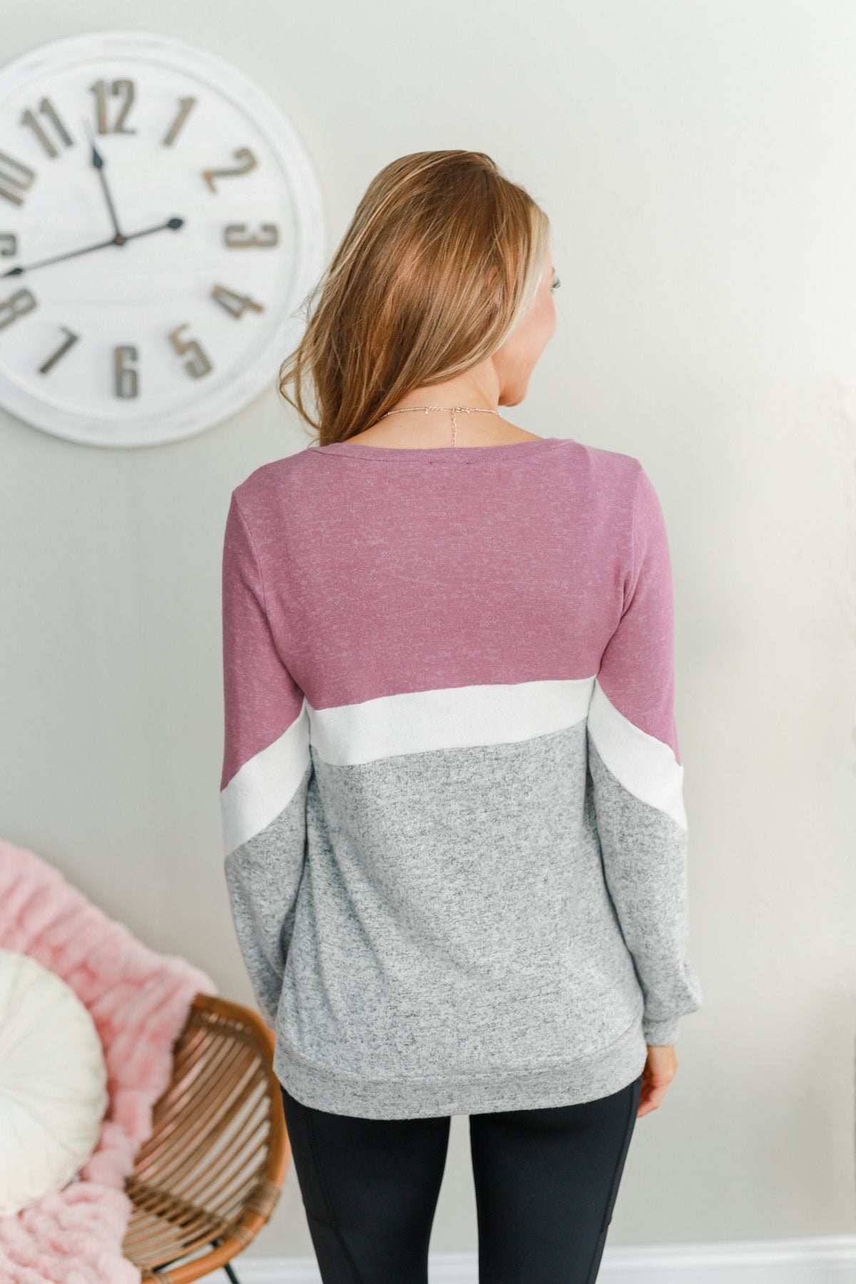 Let Me Shine Color Block Top- Purple, Ivory & Heather Grey