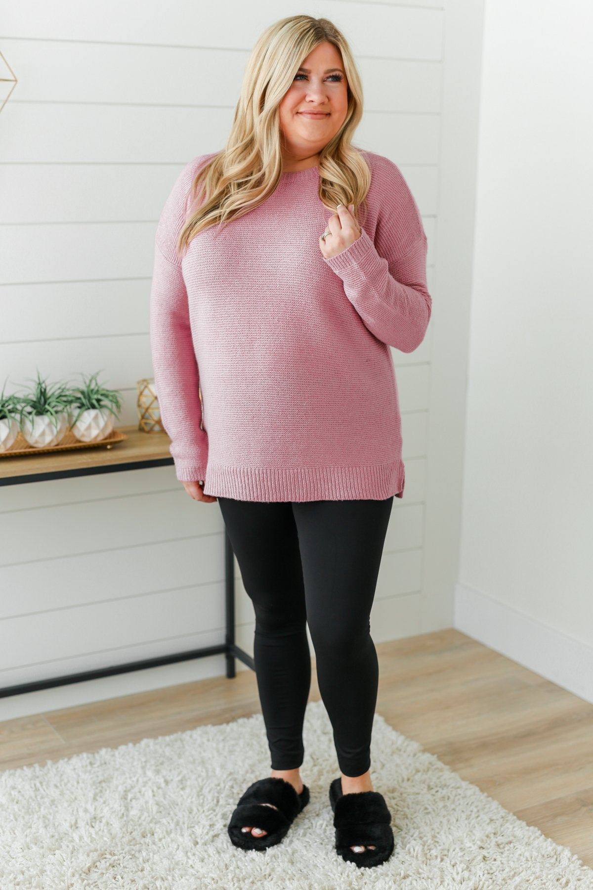 Reaching Out To You Knit Sweater- Dusty Pink