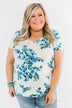 Floral Essence V-Neck Top- Ivory & Blue