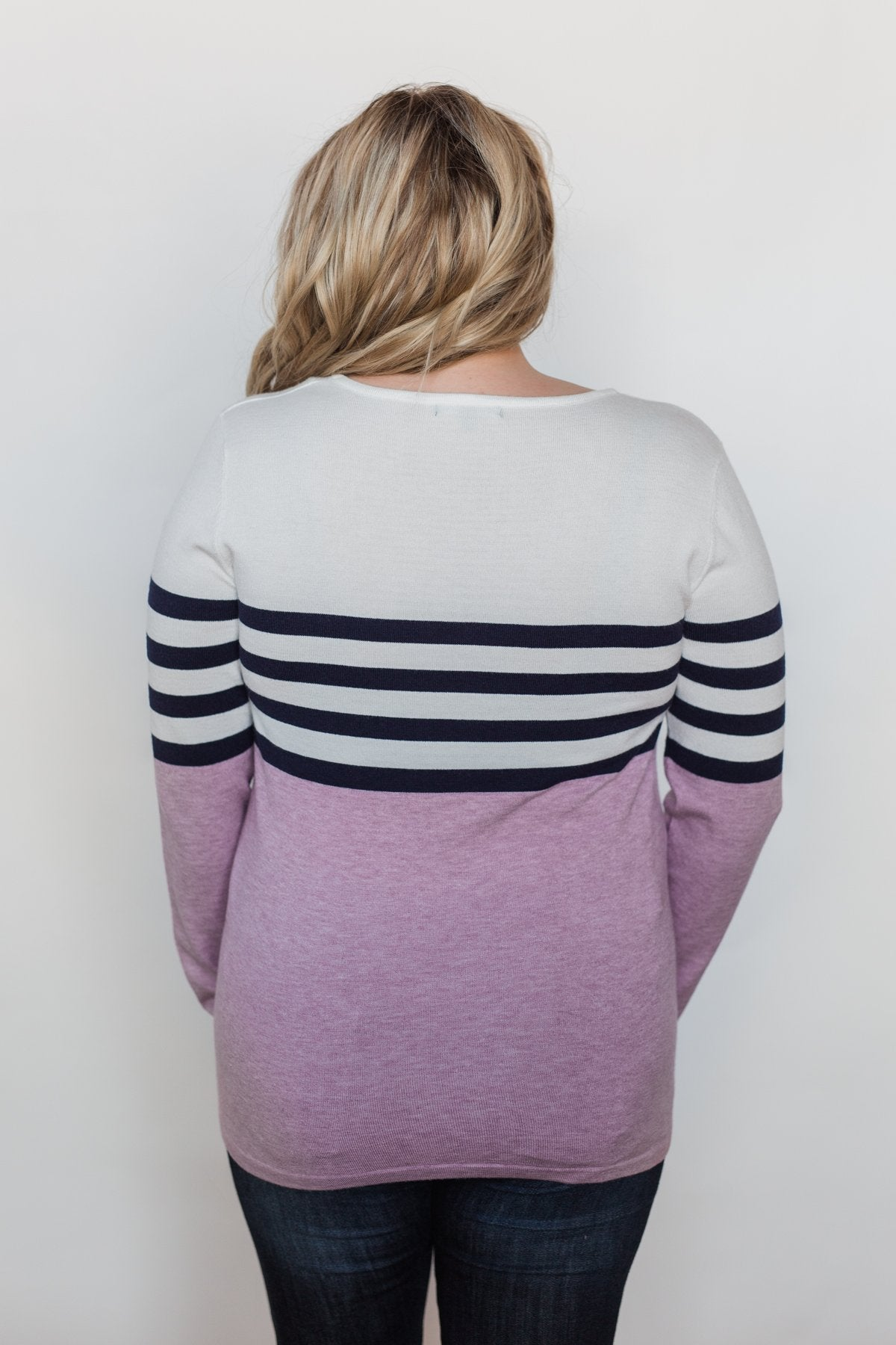 Fine by Me Striped Sweater - Lavender