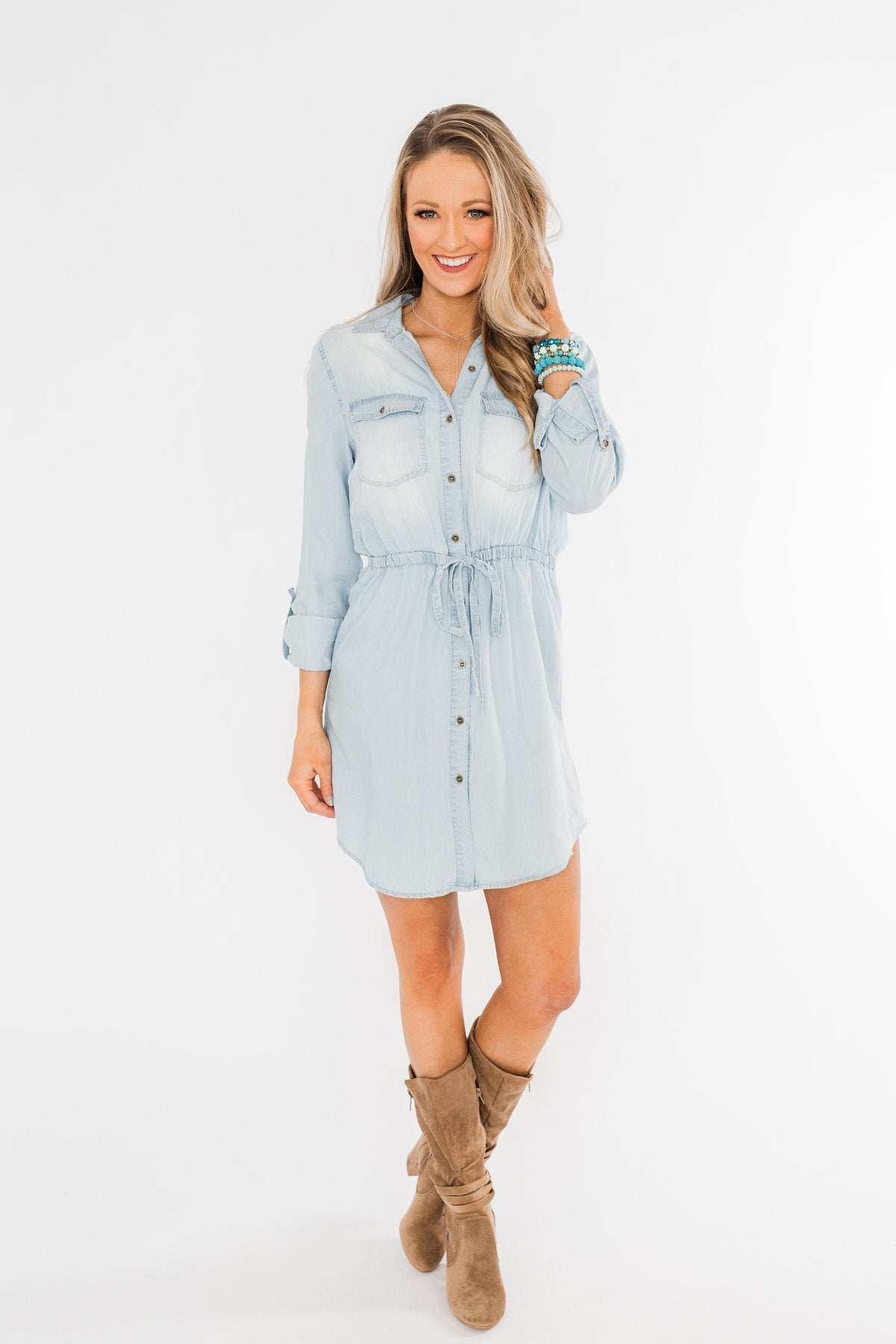 Denim Midi Shirt Dress- Light Wash
