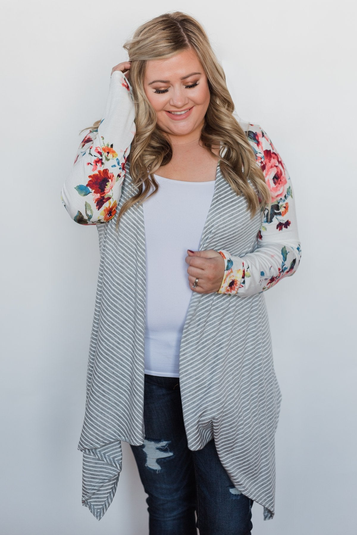 Easy Breeze Floral & Striped Cardigan- Ivory & Grey