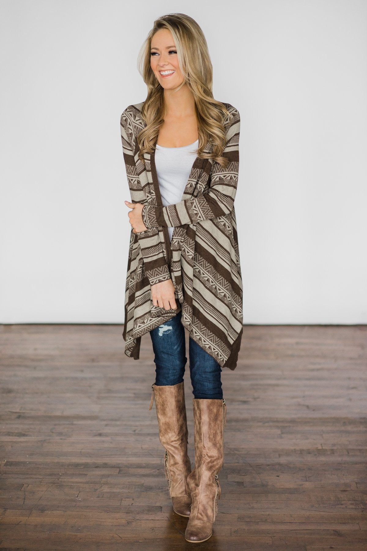 Brown Tribal Cardigan