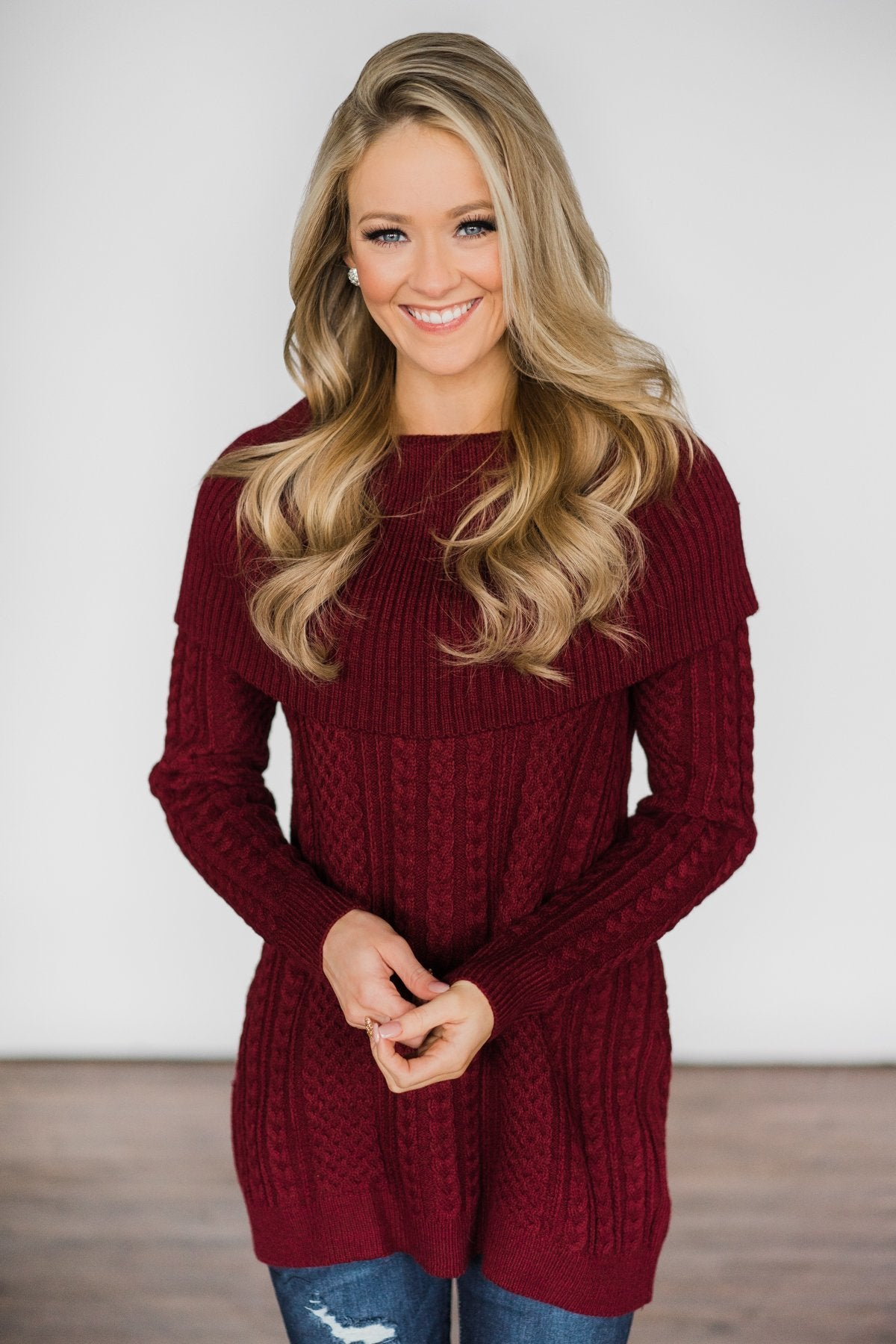 Fold Over Burgundy Sweater