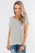 Sweet Spring Striped Pocket Top- Ivory & Lilac