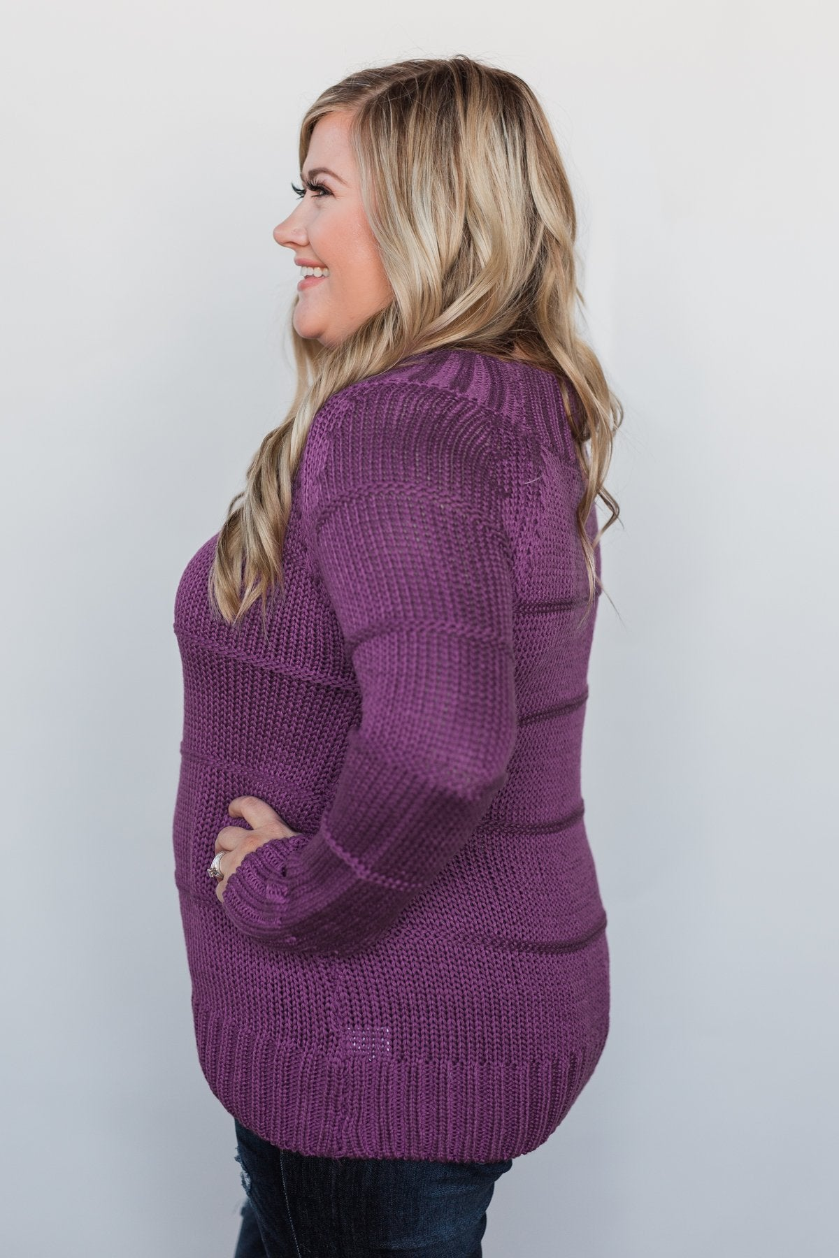 Cuddle Me Close Knitted Sweater- Purple