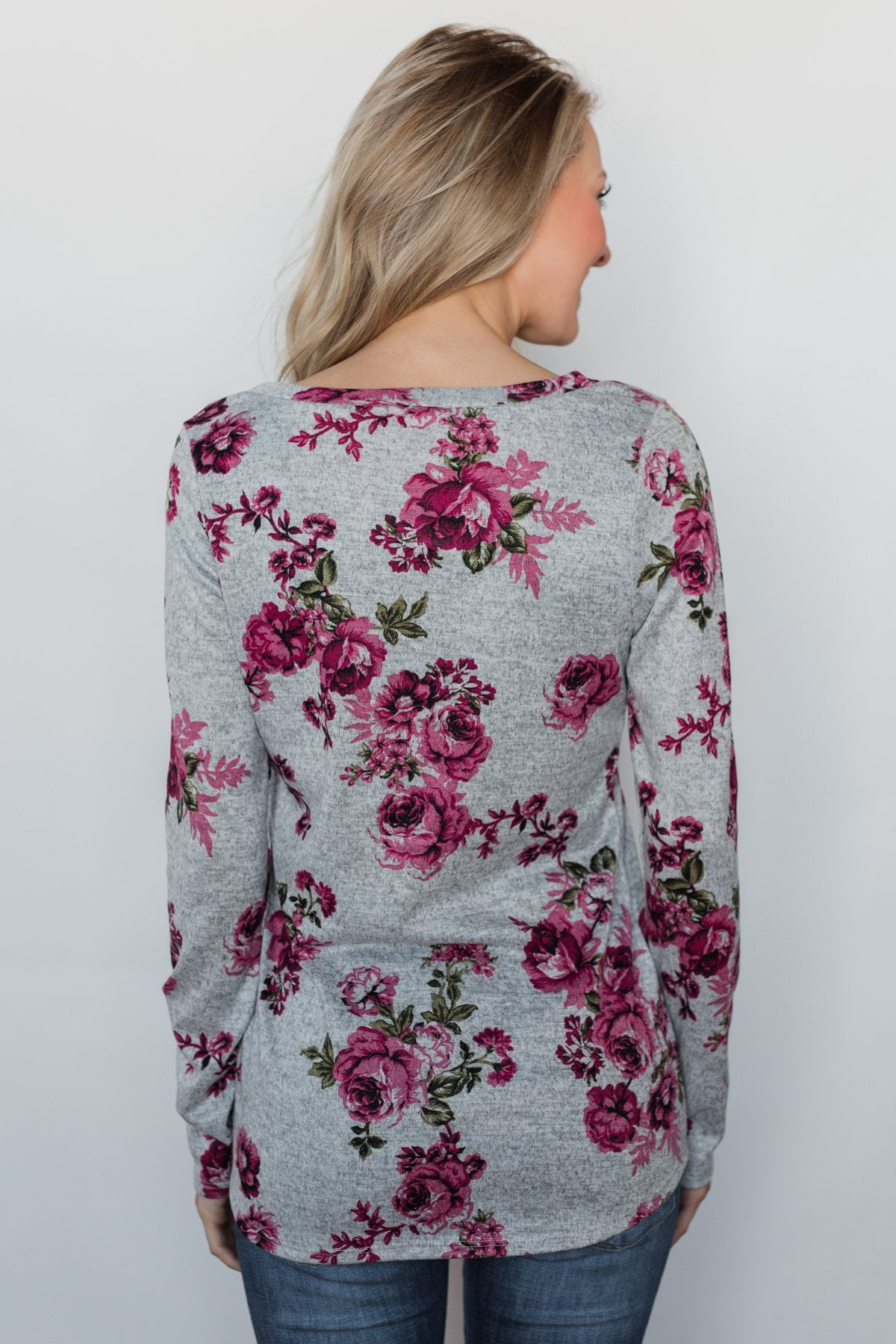 Love's in the Air Floral Pullover Top- Grey & Pink