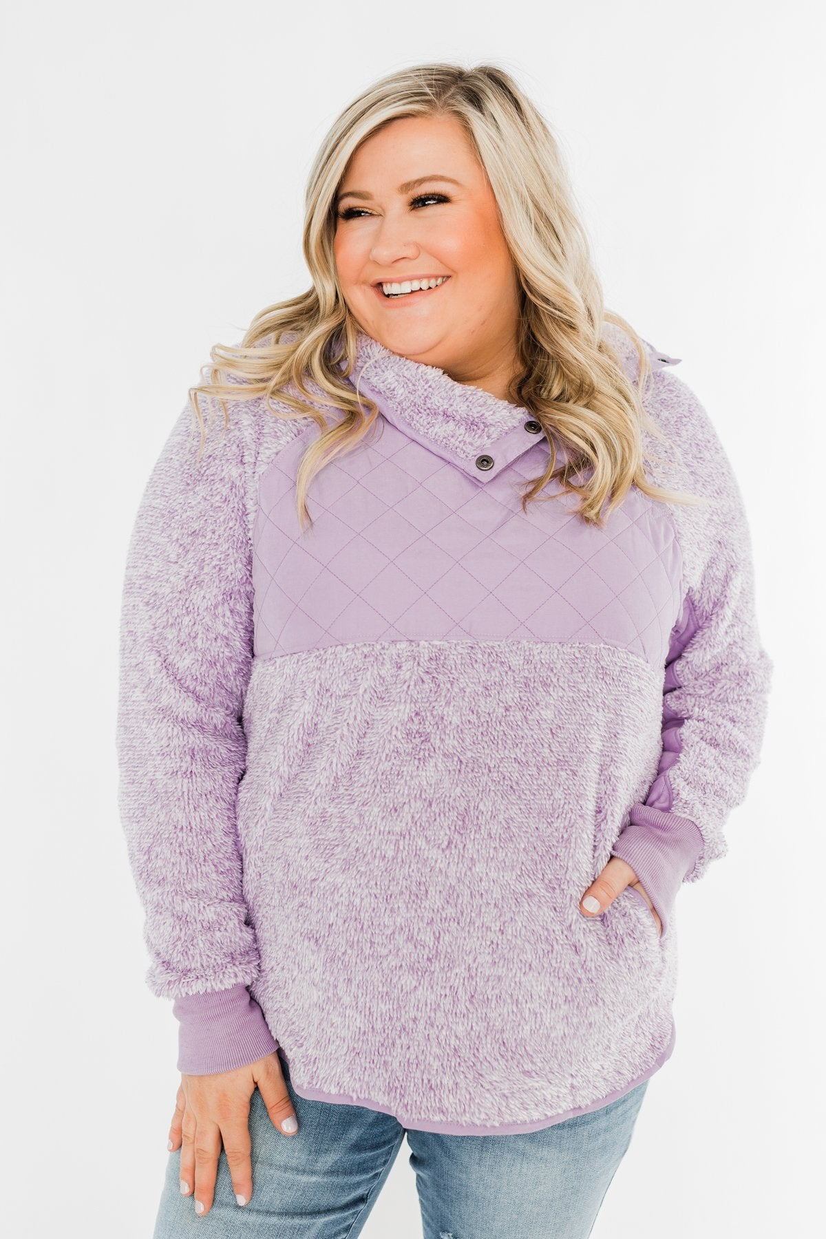 Just My Luck Quilted Sherpa Pullover- Lilac