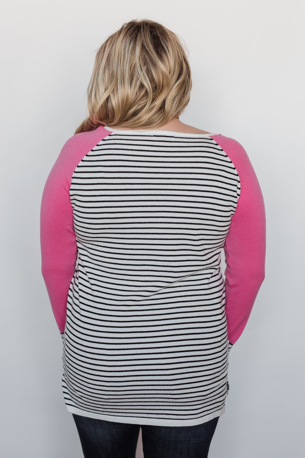 Pretty in Pink Striped Sweater - Bright Pink