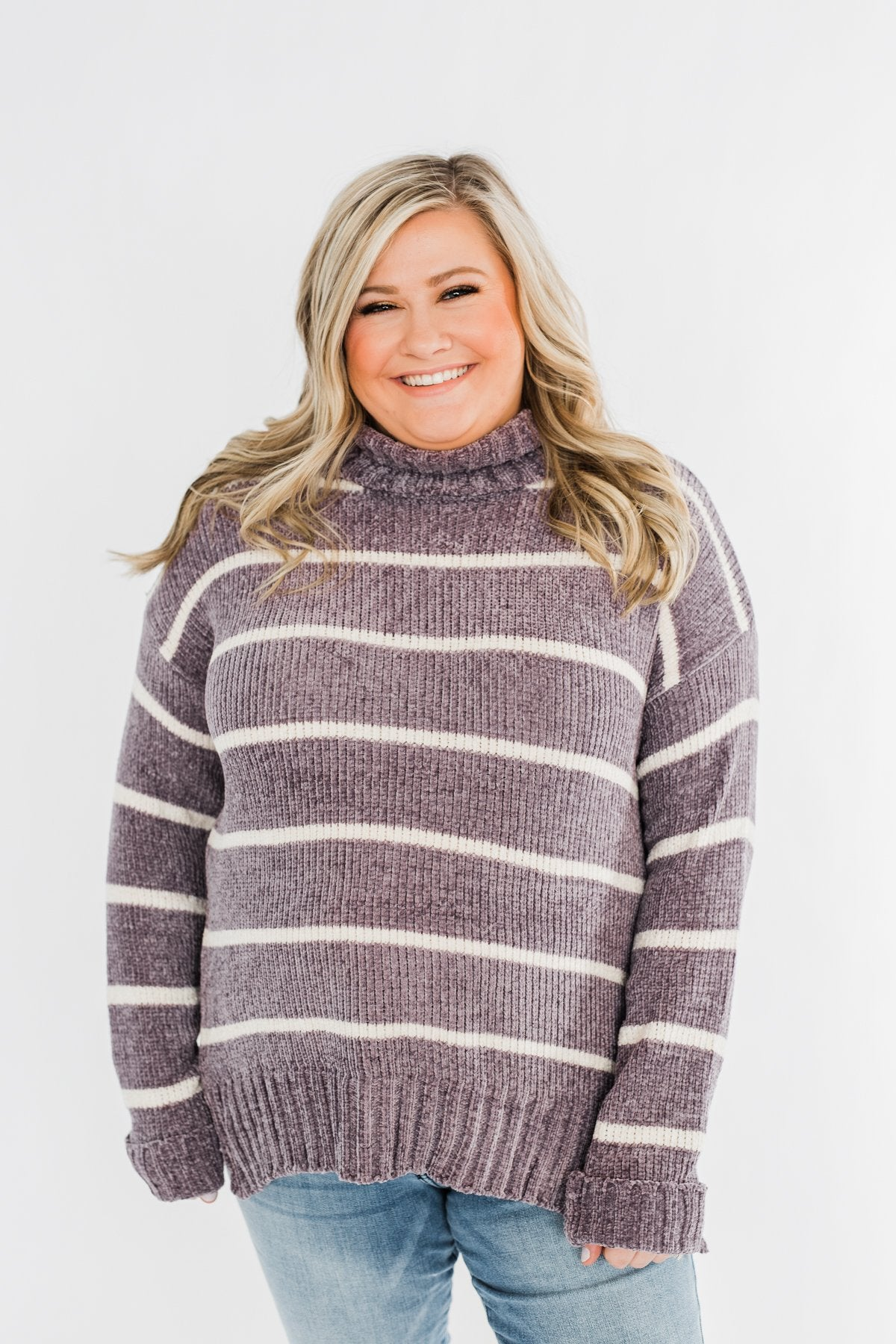 Truly Faithful Striped Sweater- Dusty Lavender