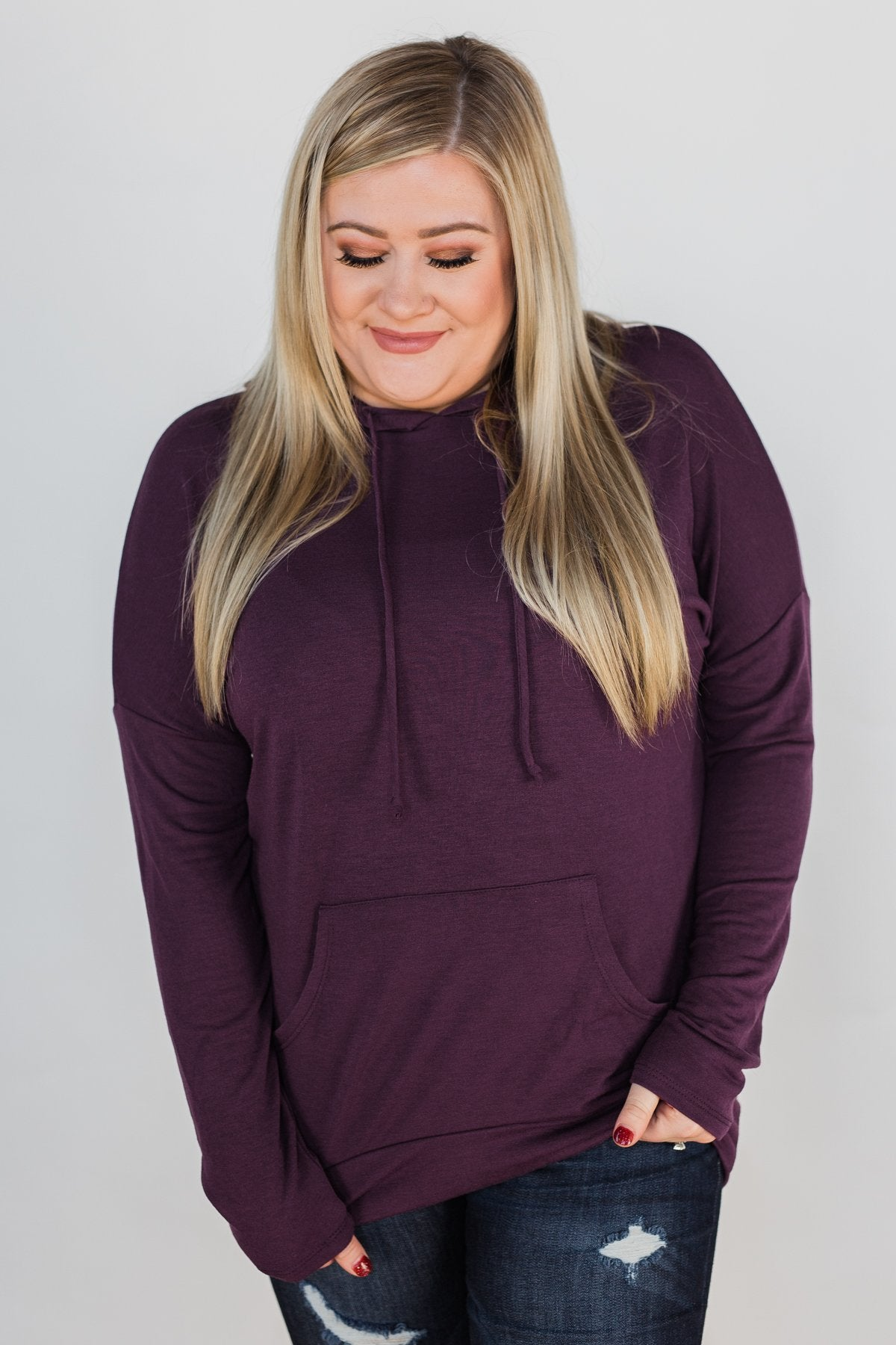Once In A While Lightweight Hoodie- Eggplant